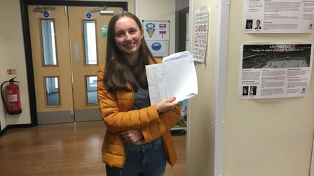 Zoe Ross with her results at The King's School in Ottery. Picture: Clarissa Place