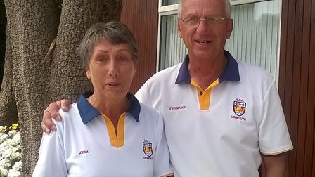 Sidmouth duo Zena Johnson and John Mason who have reached the mixed pairs county semi-finals. Pictur