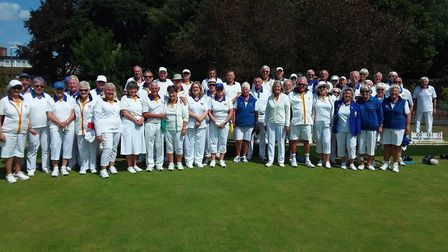 Players from Sidmouth and Topsham ahead of their mixed friendly meeting. Picture: SIDMOUTH BOWLS CLU