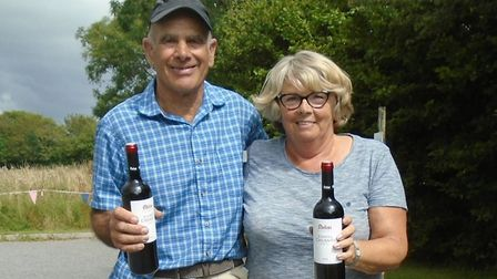 The winning pair Mike Franks and Lynne Ring with their prize after winning the East Devon Petanque C