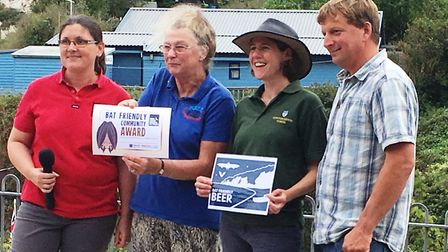 Beer received the 'Bat Friendly Community' award. Pictured (L/R) are: Ruth Testa (Devon Greater Hors