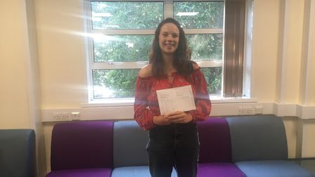 Sophie Andow with her GCSE results. Picture: Clarissa Place