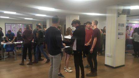 King's School students arrive to pick up their results. Picture: Clarissa Place