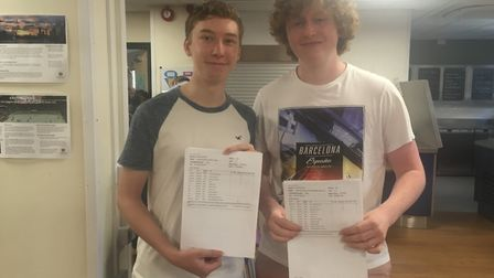 Sam Clarke and Sammy Morris with their GCSE results. Picture: Clarissa Place