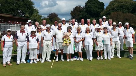 Brookfield & Sidmouth players with the mascot 'DOPEY'. Picture: Sidmouth Bowls Club