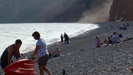 Cliff fall in the evening at Jacob's Ladder beach, Sidmouth, on Saturday, August 24. Picture: Nichol