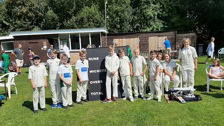 Youngsters from Sidbury and Sidmouth cricke tclubs who took part in an end-of-season pairs meeting.