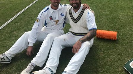 Alex Barrow (left) and Peter Trego chill out after their stand of 185 ain the Devon versus Oxfordshi