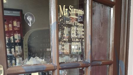 Paint was threw across the front door at Mr Simms Olde Sweet Shop in Church Street and the lock supe