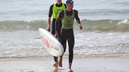 Sidmouth Surf Life Saving Club's Josh Roberts, Finlay Morgan in action. Picture: ROB BOLTON