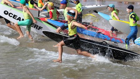 Sidmouth Surf Life Saving Club's Alec Bagwell (in the foreground) during the British Championships.