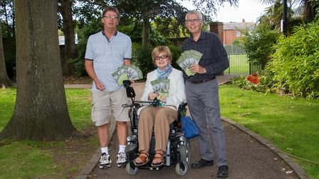 Jon Ball,Frances Deegan and Ed Dolphin at the launch of the Accessible Tree Trail. Ref shs 34 19TI 8