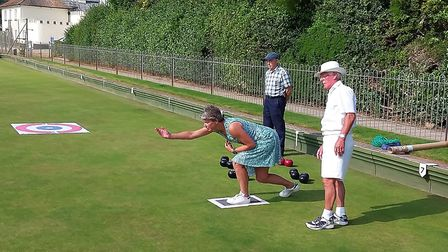 Sidmouth Bowls Club Charity Morning action. Picture SIDMOUTH GIG CLUB