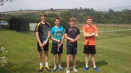 Jed Ionov Flint, Louis McCullough, Sam Foster and Lewis Morgan, the under 16 winners of Team Tennis