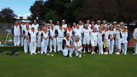 Sidmouth and Beech Hill bowlers before their match. Picture SIDMOUTH BC