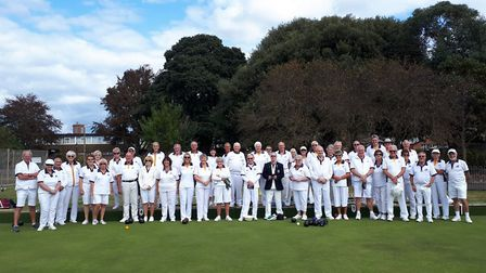 Sidmouth bowlers with the visitors from Ledbury Bowls Club. Picture SIDMOUTH BOWLS CLUB