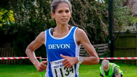 Kirsteen Welch on her way to victory at Chippenham. Picture SIDMOUTH RUNNING CLUB