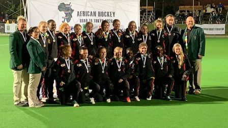 Gus McVey with Zimbabwe ladies team that won thge bronze medal at the Africa Olympic Qualifying tour