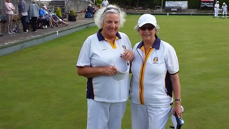 Sidmouth Bowls Club duo Brenda and Jill at the County Finals. Picture: SIDMOUTH BOLWS CLUB