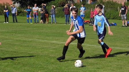 Ottery St Mary Under-14s new signing Jake Johnson in action during the win over Crediton. Picture: S