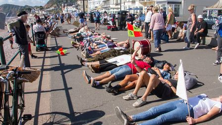 Extinction Rebellion in Sidmouth on Saturday. Ref shs 38 19TI 9842. Picture: Terry Ife