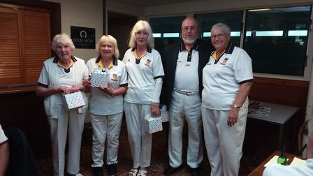 The Bannister Bowls Club president Sally (right) with her top performing team on the day. Picture S