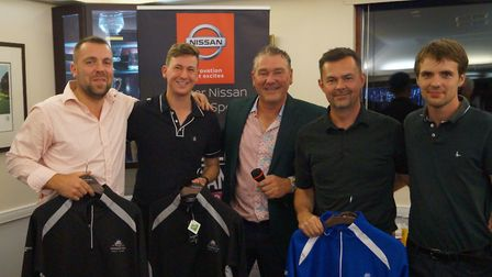 The winning team at the Nissan Day organised by Sidmouth club captain Neil Holland, (left to right)