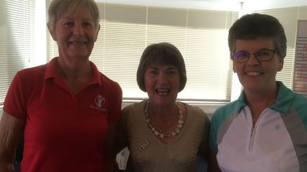 The Ladies Invitation Day winners Fran Shrubsole (left) and Maria Clapp (right) with Gill Paddon. Pi