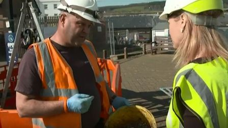 Screen shots from the BBC programme Inside Out South West which featured Sidmouth's fatberg. Picture