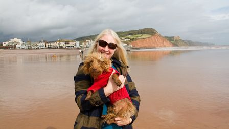Jennifer Jennings- Wright with Toto at the Doggy Dash on Sidmouth beach. Ref shs 40 19TI 1924. Pictu