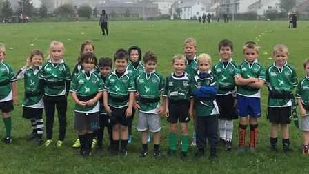 Sidmouth RFC Under-7s who made a start to their season with a game against Honiton. Picture SRFC