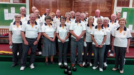 Bowlers are the opening drive of the new indoor season at Sidmouth Bowls Club. Picture SBC