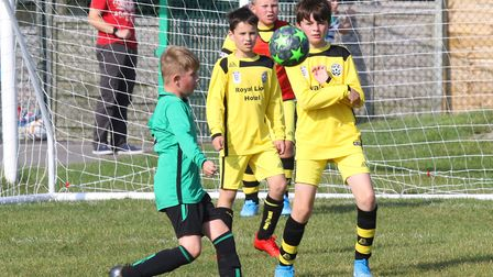 Action from the Sidmouth Vikings U12s 5-2 win over Lyme Regis. Picture SIMON HORN
