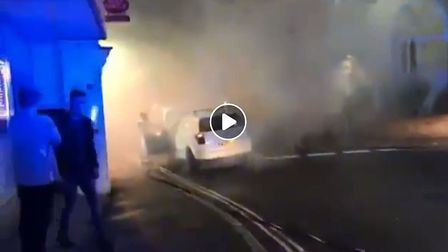 A still from a video of Sidmouth Fire Station in action on High Street in Sidmouth. Picture: Keiran