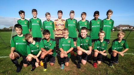 Sidmouth Warriors U14s who made a winning start to their League Cup campaign with an 8-0 win over Ok