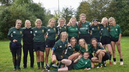 The Sidmouth RFC Under-15 girl's who have made a winning start to the new season. Picture SIDMOUTH R