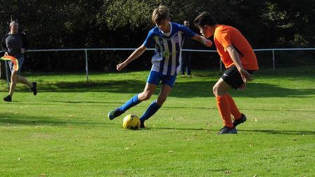 Striker Finn Upsher who scored a hat-trick in the Ottery St Mary U14s cup win over Honiton. Picture