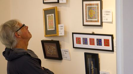 Calligraphy Exhibition at Kennaway House in Sidmouth. Ref shs 40 19TI 2089. Picture: Terry Ife