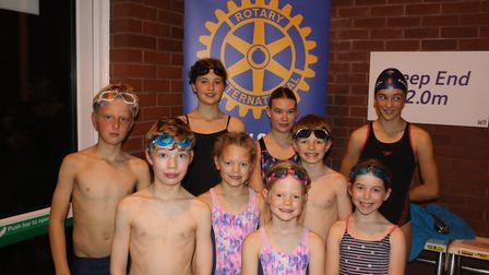 The 'Young Aitchtoo-os' from All Saints' Church take on the Swimathon. Picture: Keith Walton