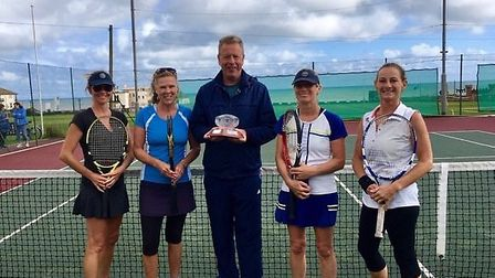 Ladies' doubles' winners Fiona Somerville and Christine Allison with runners-up Hilary Caldwell and