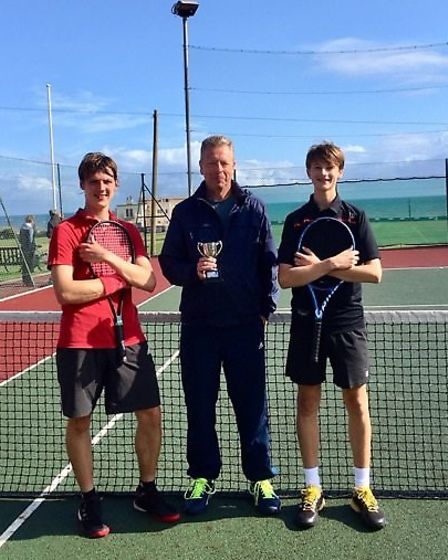Men's singles' winner Jed Ionov-Flint with runner-up Greg Shipp. Picture: SIDMOUTH TENNIS CLUB