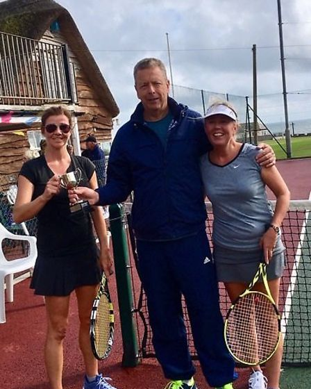 Fiona Somerville, Ladies' singles' winner with runner-up Marlene Maynard. Picture:SIDMOUTH TENNIS CL