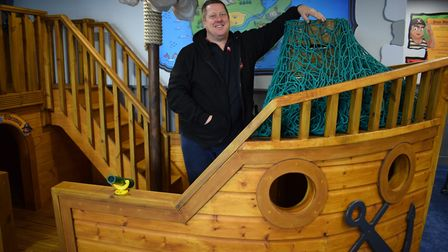 Tickety Boo owner Stuart Phillips pictured in 2016 with the opening of the pirate ship in the play k
