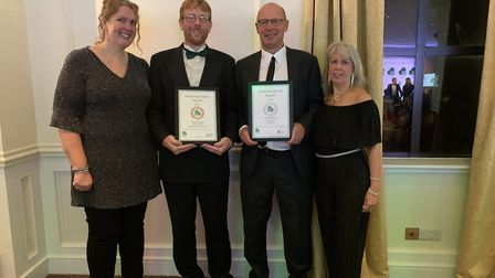Kirsty and John Hammond and Tony and Sandi Coulson with their awards from the Food and Drink Devon A