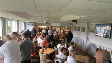 The Sidmouth RFC Blackmore clubhouse during the televising of the 2019 rugby World Cup final. Pictur