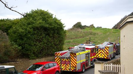 The scene in Sidmouth involving a car that fell from the cliff top. Ref shs 45 19TI 3510. Picture: T