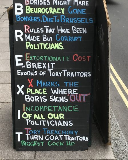 A chalkboard with the most convincing argument for Remain. Photograph: Twitter