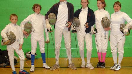 Sidmouth and East Devon Fencing Club members (left to right) Alex Moore, Toby Moore, Ollie Manning,