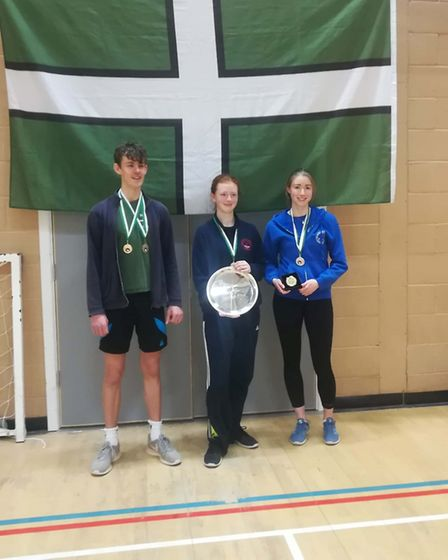 Sidmouth & East Devon Fencing Club members Ollie Manning (left), Keeley Sawyer and Grace Williams (r
