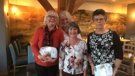 Sidmouth Golf Club ladies away day winners (left to right), Pauline Couldwell, Mo Borer and Maria Cl